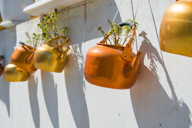 Kupferkessel mit Pflanzen, die an weißer Wand hängen – Foto