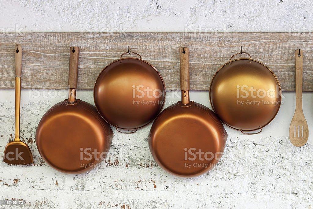 Copper  kitchen utensil stock photo