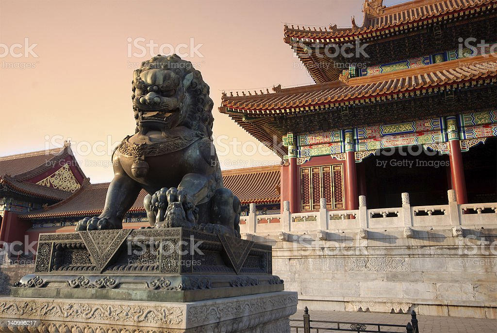 copper lion in forbiden city royalty-free stock photo