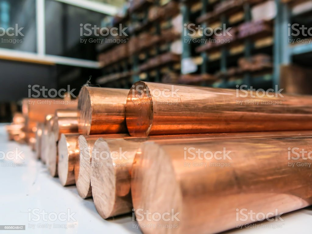 Copper material metal raw stock photo