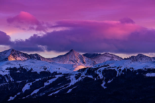 Copper Mountain and Tenmile Range Mountain View Winter Sunset Copper Mountain and Tenmile Range Mountain View Winter Sunset - Scenic views at sunset with colorful vibrant sunset colors. rocky mountains north america stock pictures, royalty-free photos & images