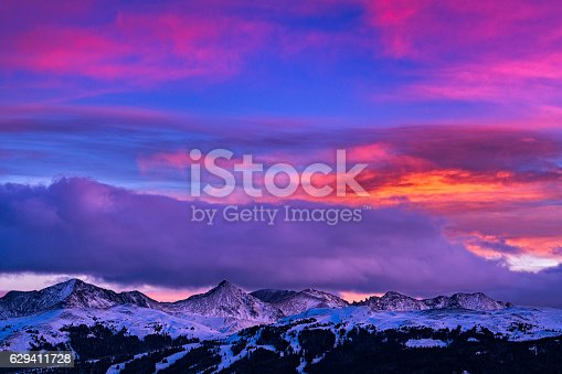 Copper Mountain and Tenmile Range Mountain View Winter Sunset - Scenic views at sunset with colorful vibrant sunset colors.