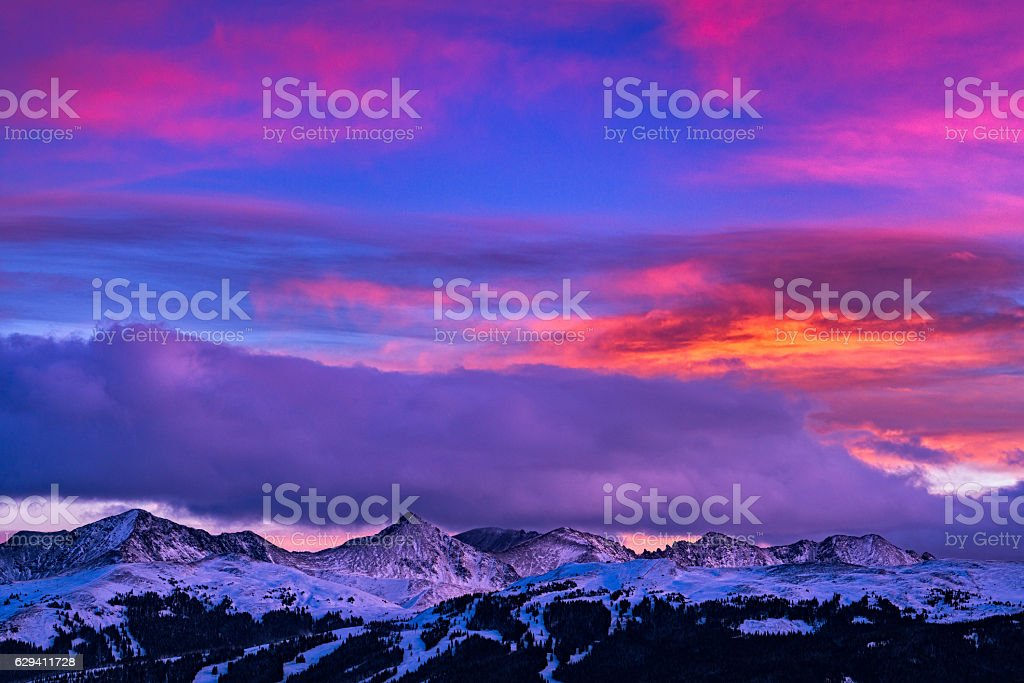 Copper Mountain and Tenmile Range Mountain View Winter Sunset stock photo
