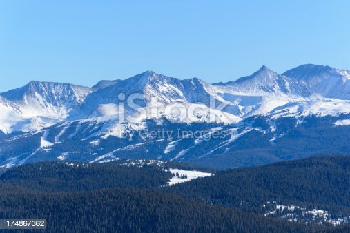 Ski area with cut slopes and dramatic mountain backdrop.  Winter view of slopes and Tenmile Range.  Captured as a 14-bit Raw file. Edited in 16-bit ProPhoto RGB color space.