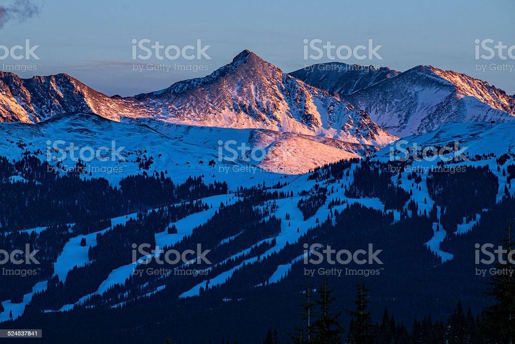 Copper Mountain Ski Runs at Sunset stock photo