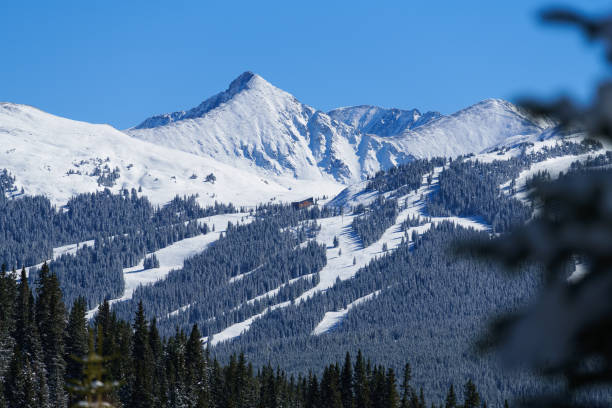 Copper Mountain with views of Pacific Peak Copper Mountain with views of Pacific Peak - Winter mountain landscape views of ski runs and beautiful mountain backdrop. vail colorado stock pictures, royalty-free photos & images