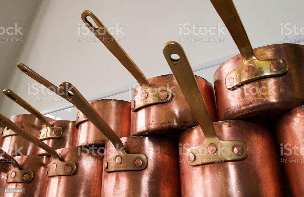Copper Pans. stock photo
