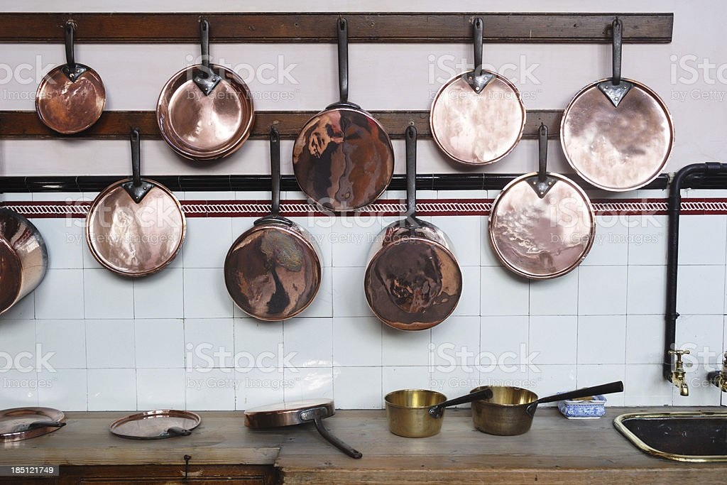 Copper Pans stock photo