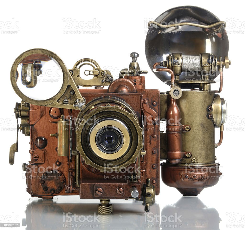 Copper Photo camera. stock photo