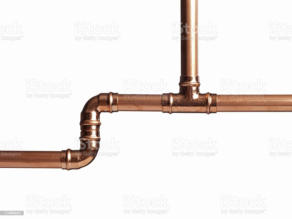 Copper Pipe Branch stock photo