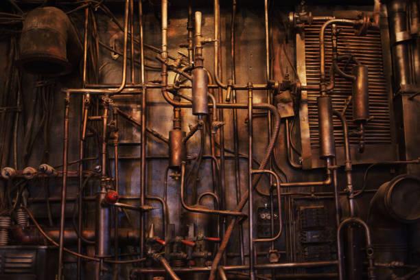 koperen pijp. moeilijke communicatie, retro, pijpen textuur - steampunk stockfoto's en -beelden