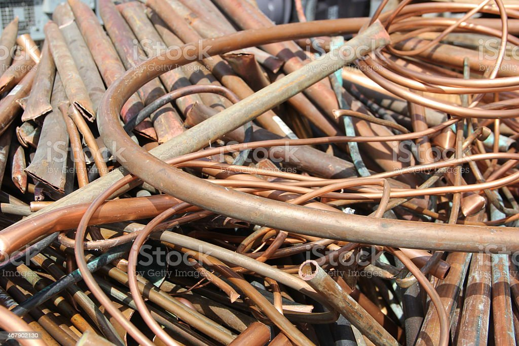 Copper pipe for scrap stock photo