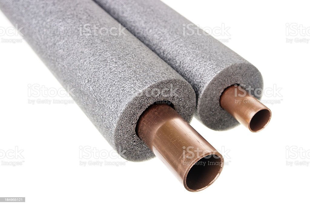Copper Pipe With Foam Insulation stock photo