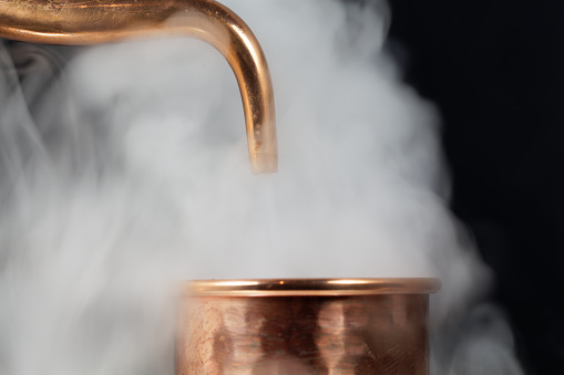Copper Pipe With Steam Stock Photo - Download Image Now - iStock