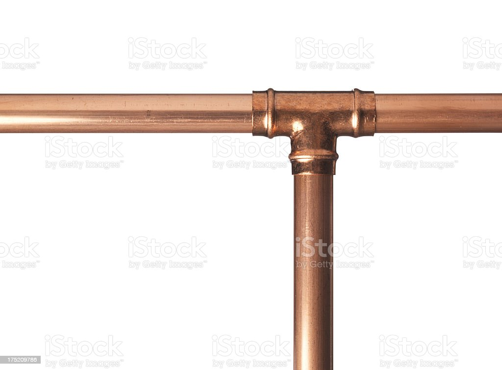 Copper pipe with t joint stock photo