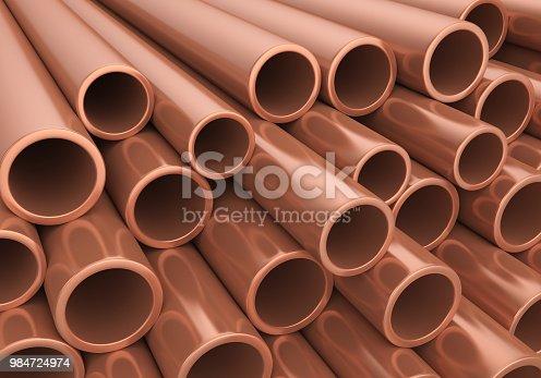 Copper Pipes Illustration. 3D render
