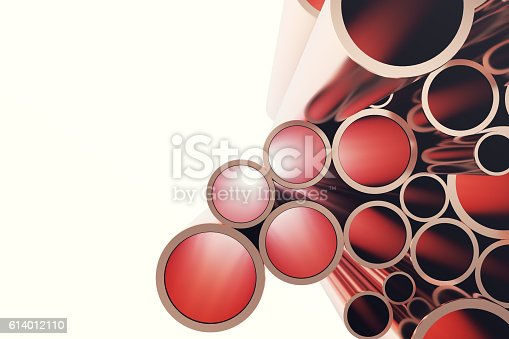 istock Copper pipes isolated on white. 3d rendering 614012110
