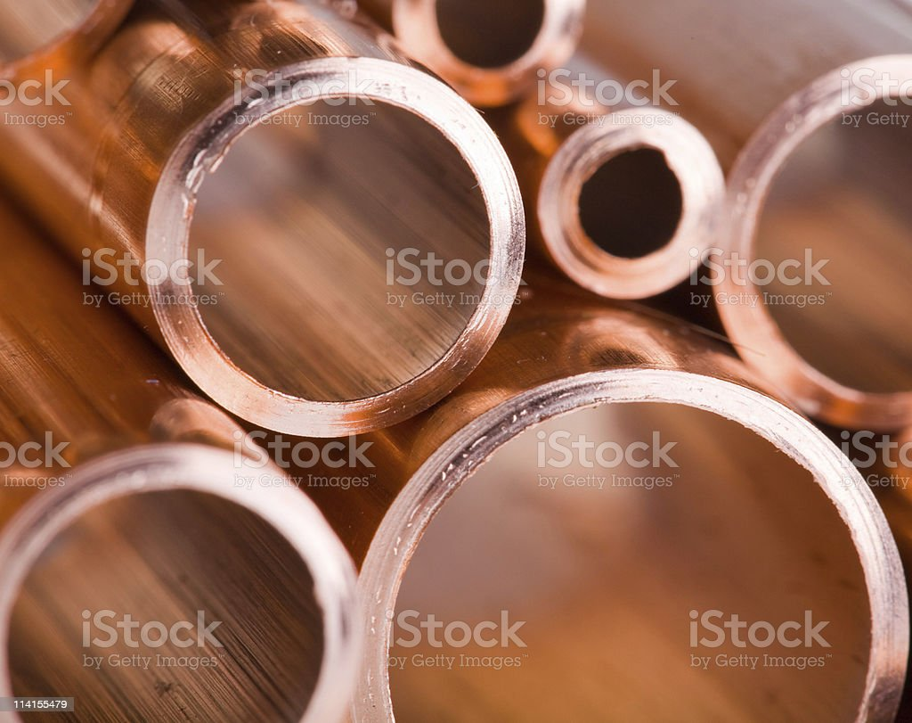 Copper pipes of different diameter stock photo