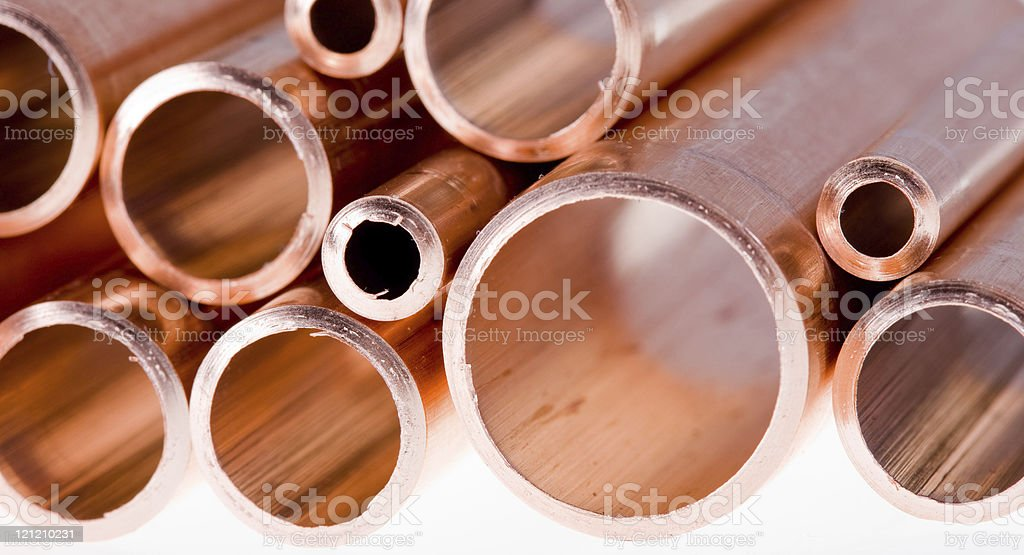 Copper pipes of different diameter royalty-free stock photo