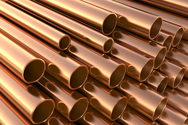 copper pipes on warehouse. - copper stock photos and pictures