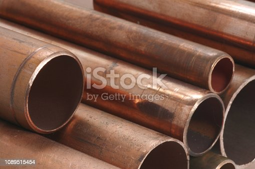 Plan view of various lengths of copper pipes