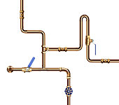 Copper pipes with valve isolated on white background. 3D illustration