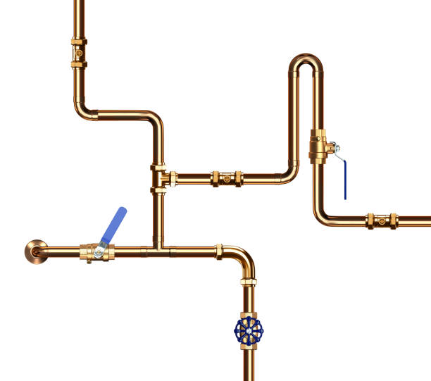 Copper Pipes with Valve stock photo