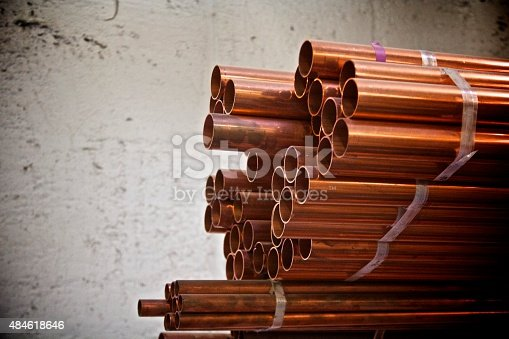 Supply of copper pipes in storage.