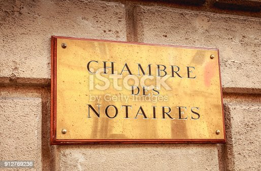 845085240istockphoto copper plate where it is written chamber of notaries 912769236