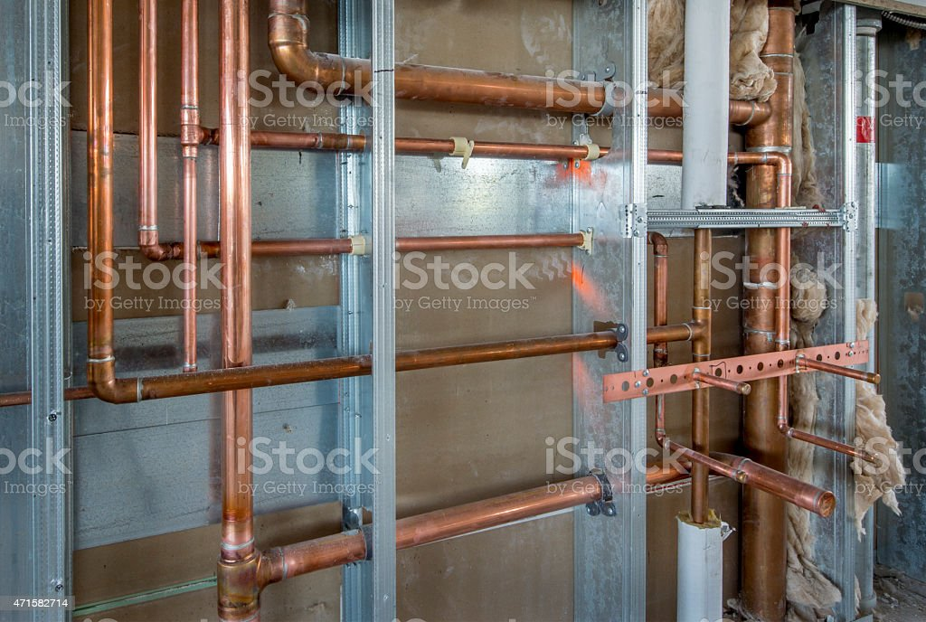 Copper plumbing roughin with steel stud construction stock for New construction plumbing rough in