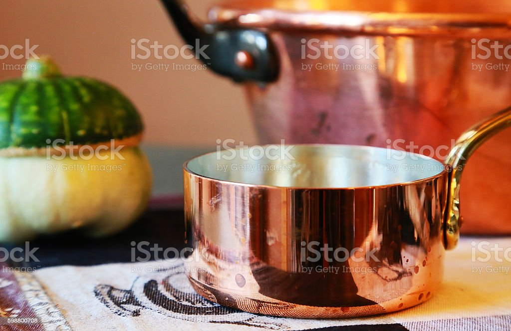 Copper pot stock photo