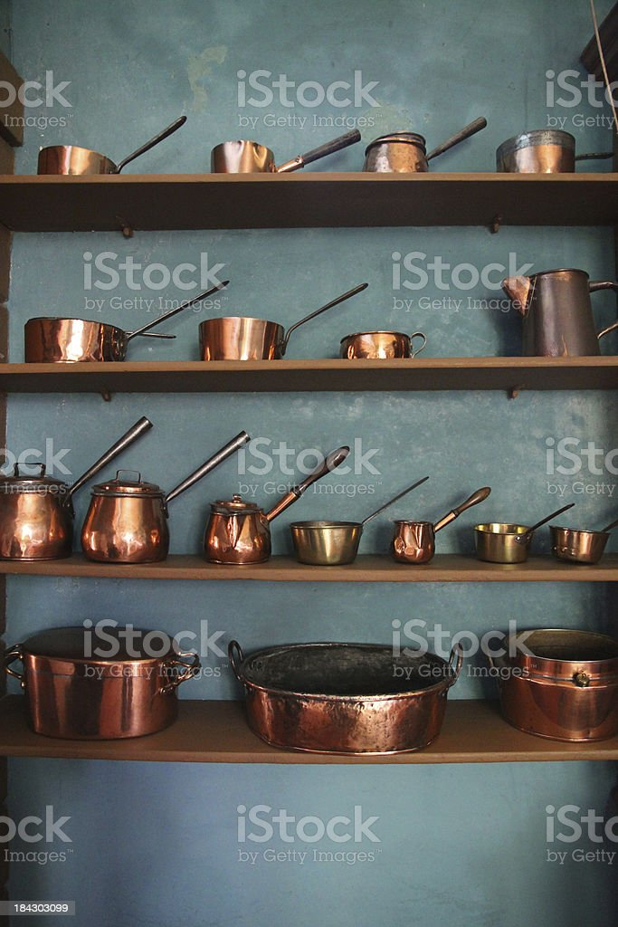 Copper Pots stock photo