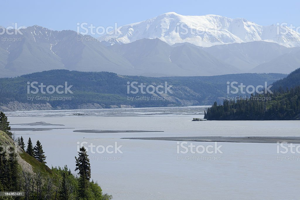 Copper River with Wrangell-St.Elias National Park mountains in background stock photo