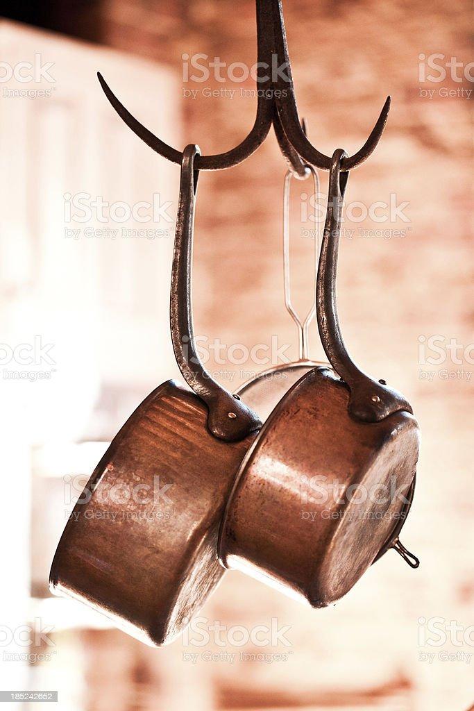 Copper Saucepans stock photo