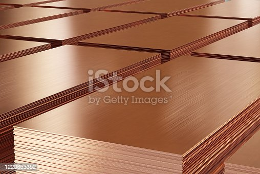 Copper sheets, copper metal in warehouse. 3d illustration.