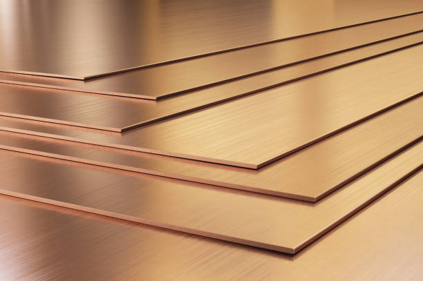 Copper sheets. Rolled metal products close-up Copper sheets. Rolled metal products close-up. 3d illustration. anode stock pictures, royalty-free photos & images