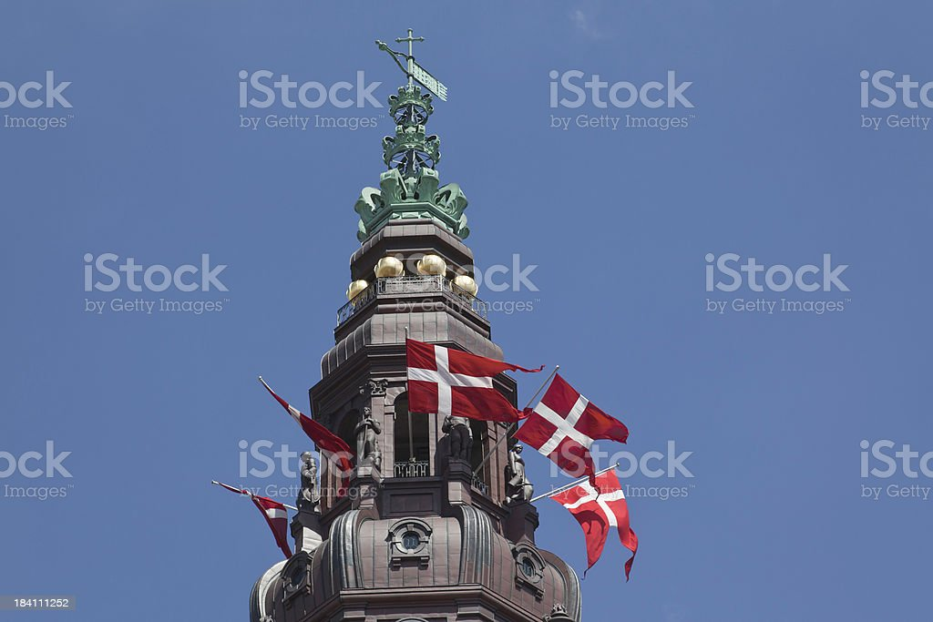Copper spire of the Danish parliament royalty-free stock photo
