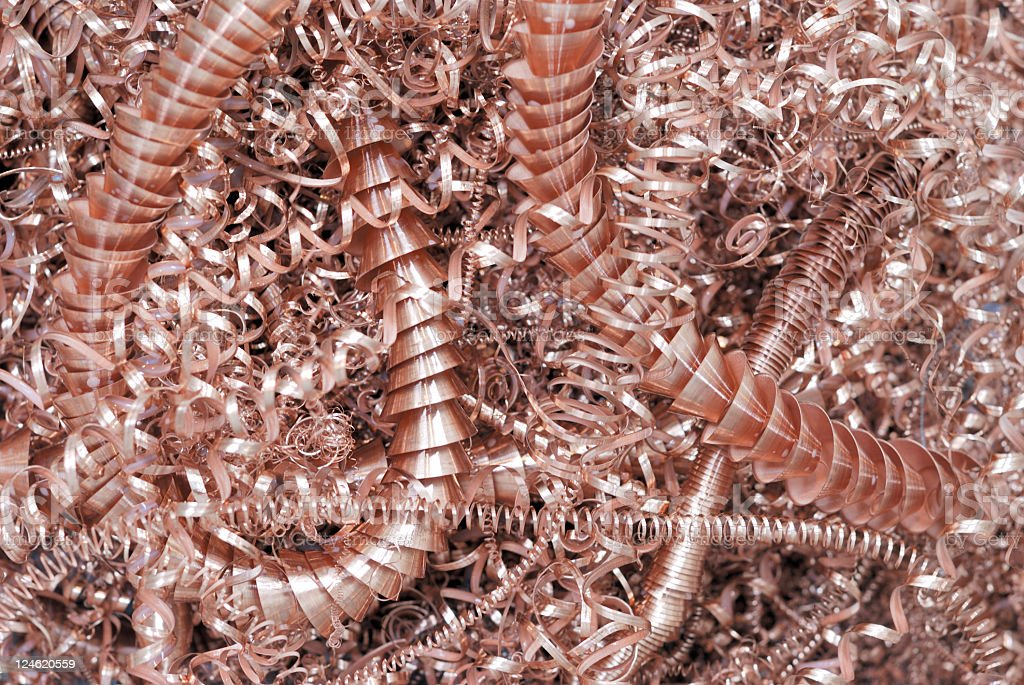 Copper Swarf from a cnc lathe royalty-free stock photo