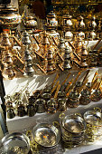copper teapots, coffee pots and plates backgrounds