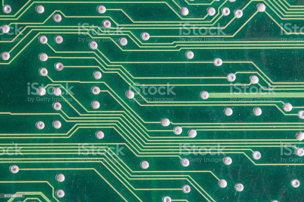 Copper tracks on the printed circuit board stock photo