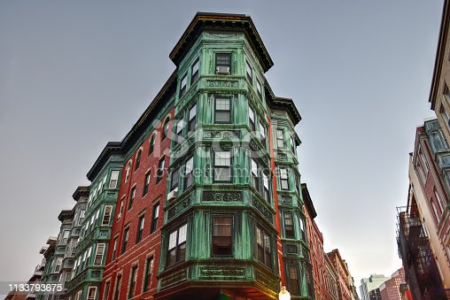 Copper Tripartite, Bay Windows in the North End neighborhood of Boston, Massachusetts.