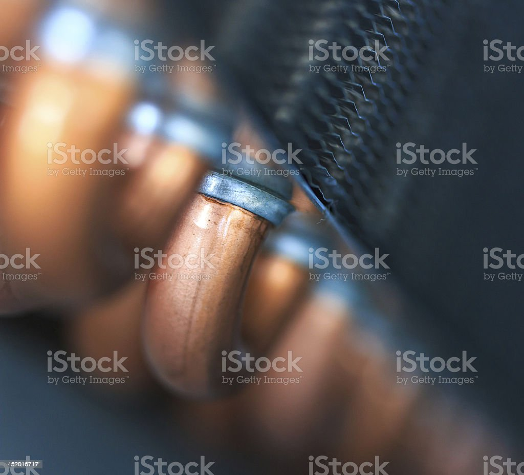 Copper tube for air conditioners stock photo