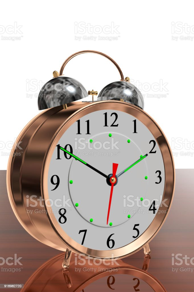 Copper Twin Bell Alarm Clock On A Reflective Wood Surface
