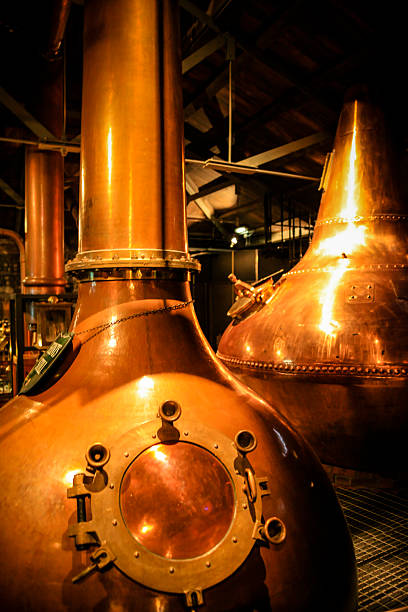 Copper Whiskey vats at a distillery stock photo