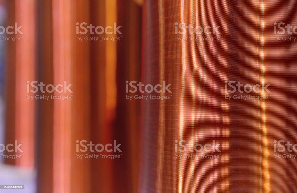 Copper Wire Coil Background stock photo