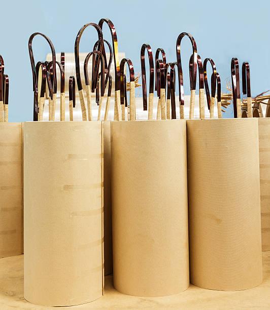 Copper wire coil with insulator stock photo