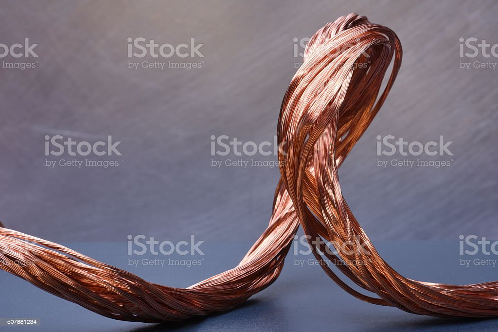 Copper wire concept of industry development stock photo