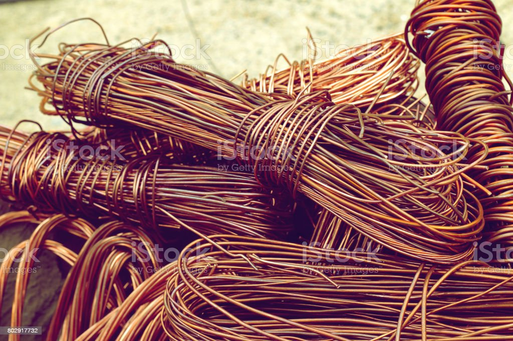 copper wire from factory used for recycling. stock photo