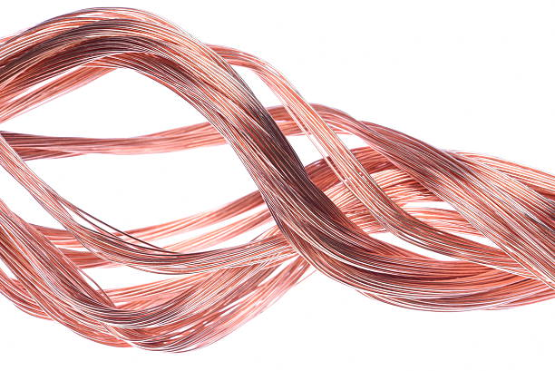 Copper wire isolated on white background stock photo