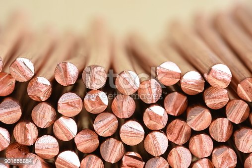 Electrical power cable close-up with selective focusCopper wire raw materials and metals industry and stock market concept